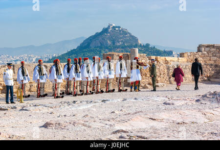 ATHENS, GREECE - OCTOBER 12, 2013: National Guard of Greece in traditional costumed during military parade on Acropolis, - Stock Photo