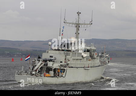 HNLMS Schiedam (M860) of the Netherlands Navy, and HMS Ramsey (M110) of the Royal Navy, passing Greenock on arrival - Stock Photo