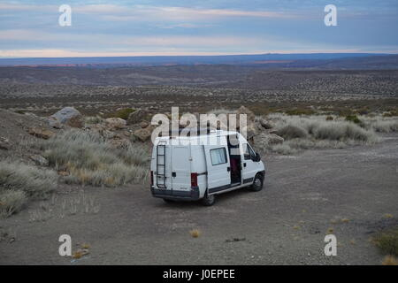 Our Peugeot Boxer motorhome camped in the Argentinian wilderness - Stock Photo