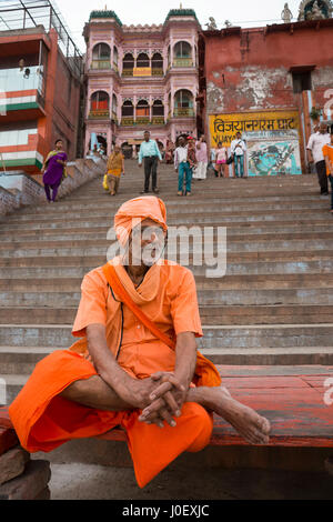Sadhu sitting on vijayanagaram ghat, varanasi, uttar pradesh, india, asia - Stock Photo