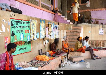 Sadhu on ghat of varanasi, uttar pradesh, india, asia - Stock Photo