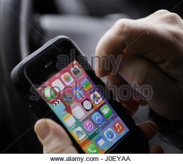 Newport area Wales UK Iphone Mans Hand Europe, UK, England, London, View Of - Stock Photo