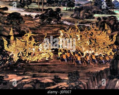 Ramayana murla paintings of , alien battles gods and chimera on walls of kings palace Bangkok, Thailand. - Stock Photo