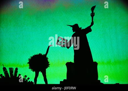 Shadowland 2 - the new adventure, shadow theatre performance and modern dance performance of the US-American Pilobolus - Stock Photo