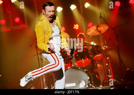 One Night of Queen, british Queen tribute show performed by singer Gary Mullen (as Freddie Mercury double) and the - Stock Photo