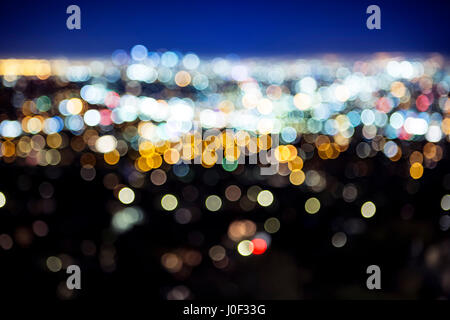 Blurry big city lights blurry bokeh - Stock Photo