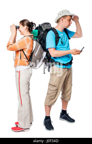 Lost walking tourists look in different directions on a white background - Stock Photo
