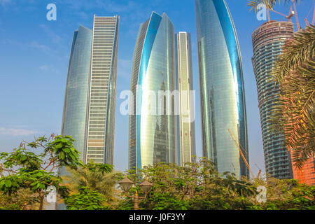 Abu Dhabi, United Arab Emirates - April 21, 2013: Etihad Towers, a complex of buildings with five towers. High rise - Stock Photo