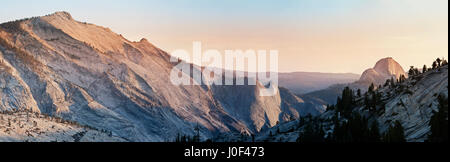 Panoramic view over a Half Dome at Yosemite National Park - Stock Photo
