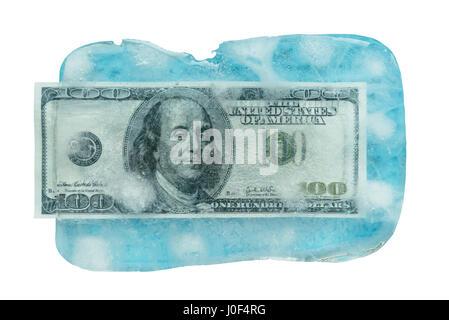 100 dollars frozen melt. - Stock Photo