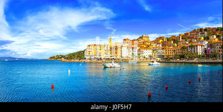 Porto Santo Stefano harbor seafront and village skyline, italian travel destination. Monte Argentario, Tuscany, - Stock Photo