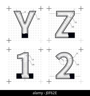 Architectural sketches of 7 8 9 0 letters blueprint style font on architectural sketches of y z 1 2 letters blueprint style font on white stock malvernweather Images