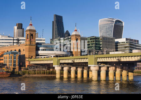 Cannon Street Railway Bridge and City view London UK - Stock Photo