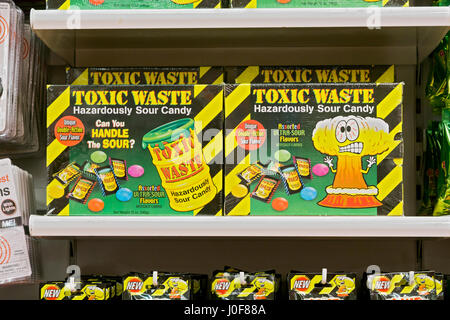 Toxic Waste Hazardously Sour Candy for sale at It'sugar on Broadway in Greenwich Village, Manhattan, New York City - Stock Photo