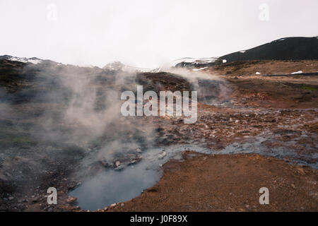 steam rises from the geothermal hot springs of Reykjadalur, a popular hiking trail in the mountains near Reykjavik, - Stock Photo