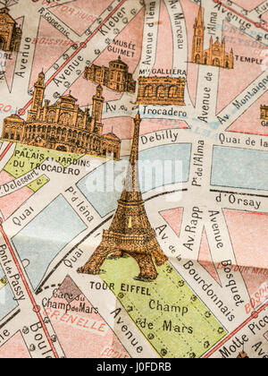 Fine print detail of rare 1900's vintage retro colour Monumental Map of Paris, featuring Eiffel Tower and Trocadero - Stock Photo