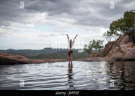 Gunlom Falls Infinity pools Kakadu National Park Northern Territory - Stock Photo