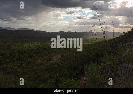 Gunlom Falls view Kakadu National Park Northern Territory - Stock Photo