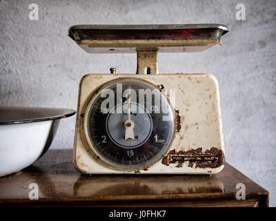 Vintage Stube kitchen scales. Retro and rusty. - Stock Photo