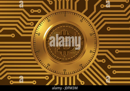 Concept Of Bitcoin Like A Electronic Security Lock. 3D Illustration. - Stock Photo