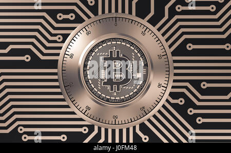 Concept Of Bitcoin Like A Electronic Security Lock On Printed Circuit Board. 3D Illustration. - Stock Photo