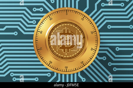 Concept Of Bitcoin Like A Electronic Security Lock On Blue Printed Circuit Board. 3D Illustration. - Stock Photo