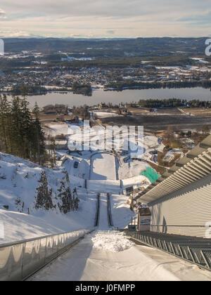 Vikersund, Norway - February 24, 2016: A winter view from the Vikersundbakken ski jump tower in Vikersund - Stock Photo
