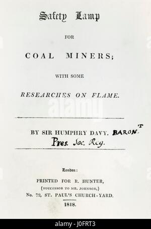 Safety lamp for coal miners (title page) - Stock Photo