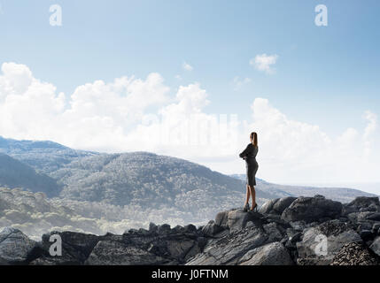 Achieving top of success - Stock Photo