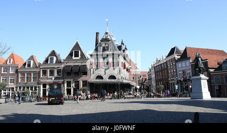 Panorama of Roode Steen square, Hoorn, North Holland, Netherlands with De Waag (1609, Hendrick de Keyser), former - Stock Photo