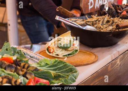 Shaurma. Pita bread with vegetables and cheese. - Stock Photo