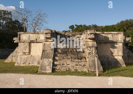 Mexico, Yucatan, Chichen Itza Mayan site, Platform of Eagles and Jaguars - Stock Photo