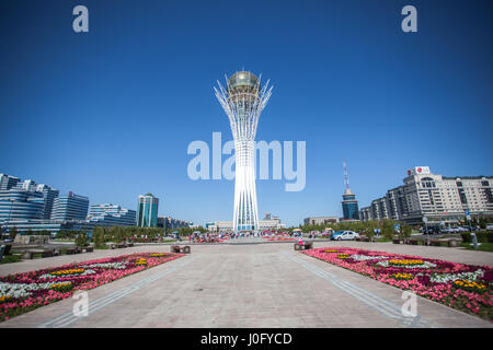 The Baiterek monument in Astana, capital of Kazakhstan. On the Central square people walk and relax. - Stock Photo