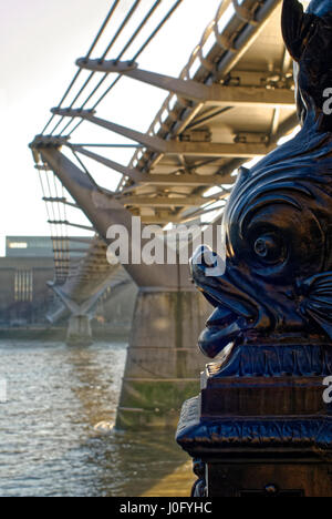 The Millennium Bridge Looking South Towards The Tate Modern Gallery. - Stock Photo