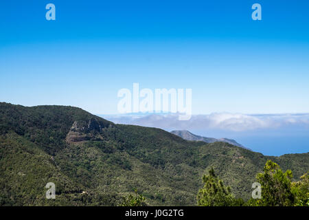 Overlooking dense forested area on the Teno Masif near to Erjos on the north west of Tenerife, La Palma visible - Stock Photo