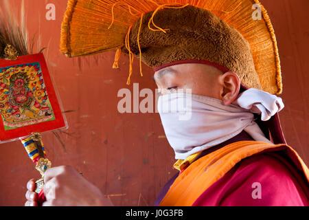 Monk, Tamshing Phala Chhoupa festival, Tamshing Monastery, nr Jakar, Bumthang, Bhutan - Stock Photo