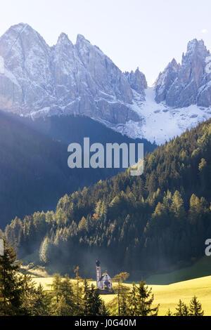 Italy, near Bolzano, Val di Funes, St. Magdalena and Dolomites - Stock Photo