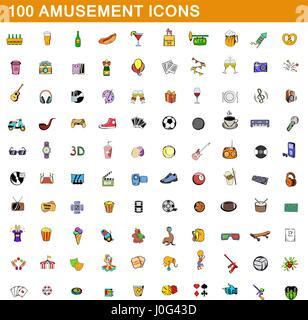 100 amusement icons set, cartoon style  - Stock Photo
