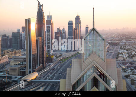 Elevated view over the modern Skyscrapers along Sheikh Zayed Road, downtown Dubai, United Arab Emirates, UAE - Stock Photo