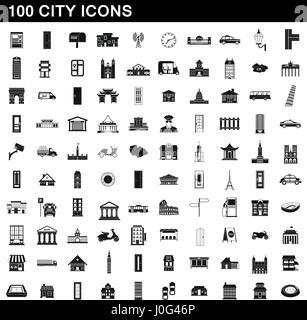 100 city icons set, simple style - Stock Photo