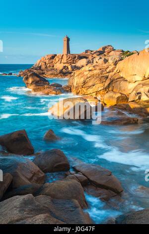 Ploumanach Lighthouse, Cote de Granit Rose, Cotes d'Amor, Brittany, France - Stock Photo