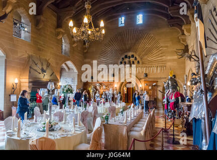 Warwick Castle, The Great Hall. Interior of Warwick Castle, Warwickshire, England, UK - Stock Photo