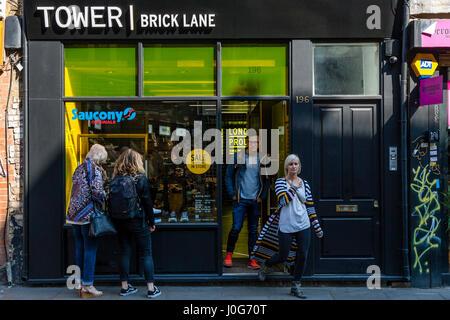 Tower Footwear Store, Brick Lane, London, England - Stock Photo