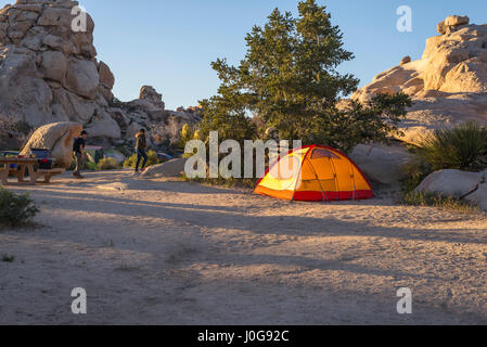 Camping tent at campground area. Joshua Tree National Park, California, USA. - Stock Photo