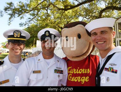170401-N-LQ926-008 BILOXI, Miss. (April 1, 2017) Sailors from the Virginia-class fast-attack submarine USS Mississippi - Stock Photo