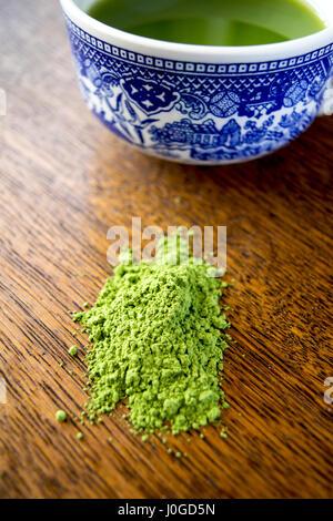 matcha green tea powder and drink - Stock Photo