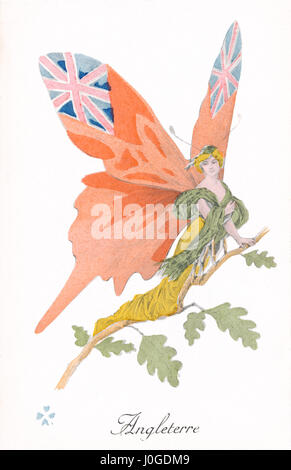French First World War postcard depicting England as a butterfly. One of a series of postcards, published by Impressions L. Géligné of Paris, which portrayed the Allies as butterfly women.
