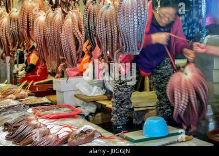 Gyeongju market Octopus stalls South Korea - Stock Photo