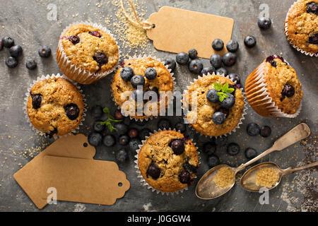 Vegan banana blueberry muffins - Stock Photo