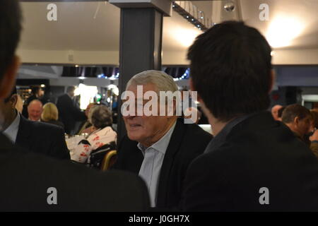 Lord Paddy Ashdown, former MP and leader of the Liberal Democrats supports John Leech's re-election campaign in - Stock Photo